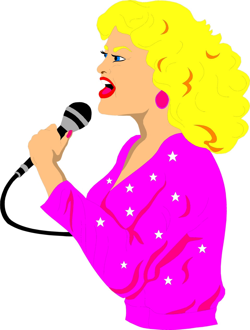 Illustration of a beautiful blond singer : Free Stock Photo