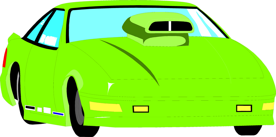 Illustration of a green racecar : Free Stock Photo
