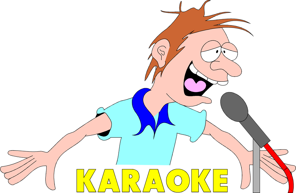 Illustration of a drunk singer with karaoke text : Free Stock Photo