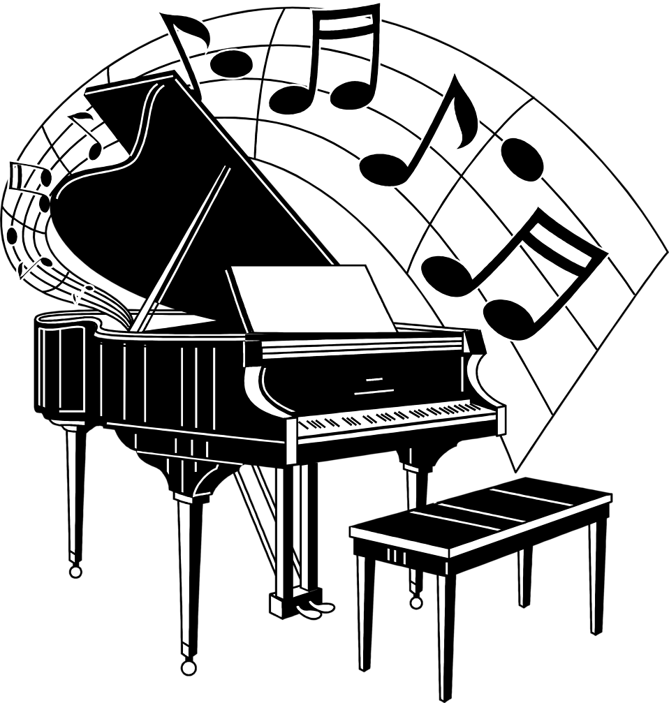 Illustration of a piano with music notes.