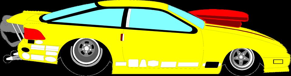 Illustration of a yellow racecar : Free Stock Photo
