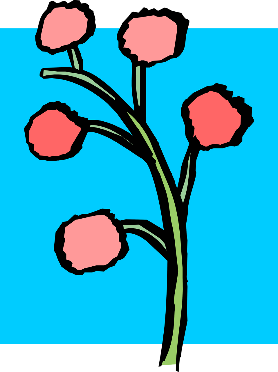 Illustration of red flowers on a plant : Free Stock Photo