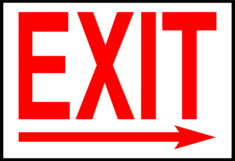 Illustration of an exit sign with a right facing arrow.