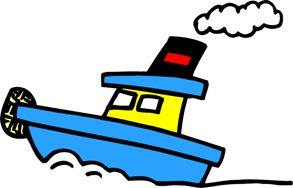 Illustration of a blue tugboat : Free Stock Photo