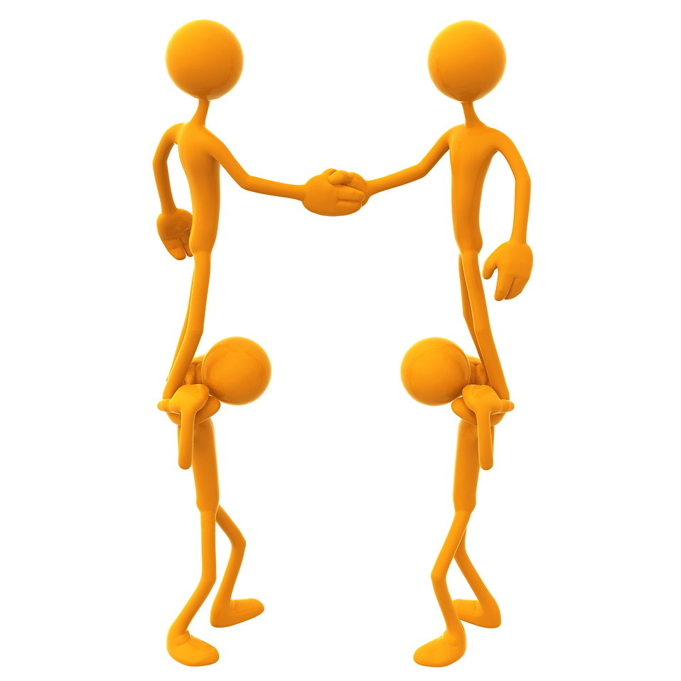 3D illustration of people shaking hands while standing on other shoulders : Free Stock Photo