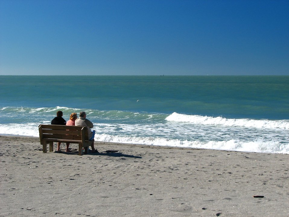 People sitting on a bench overlooking the ocean : Free Stock Photo