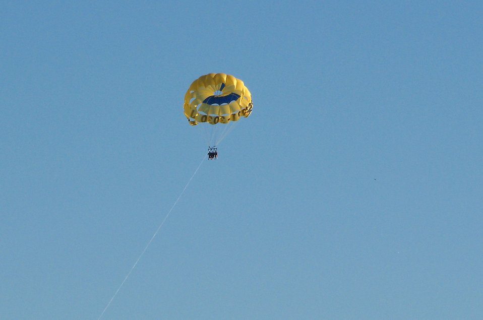 A couple parasailing in the sky : Free Stock Photo
