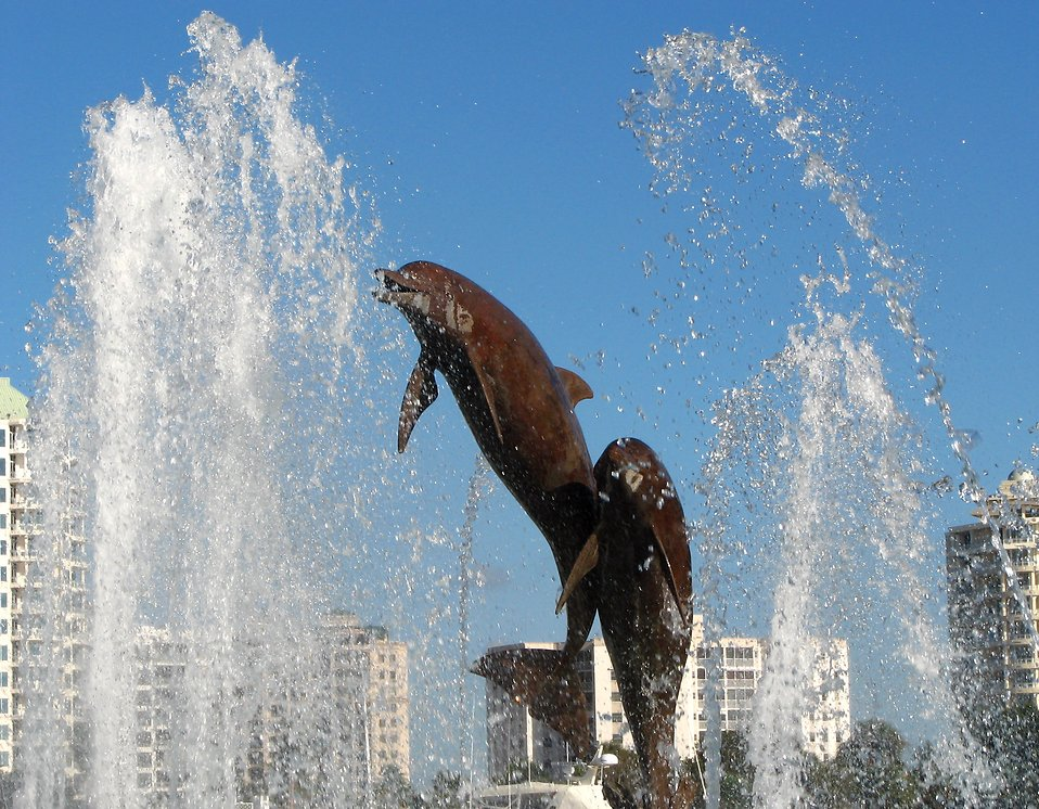 The dolphin fountain at Bayfront Park in Sarasota, Florida.