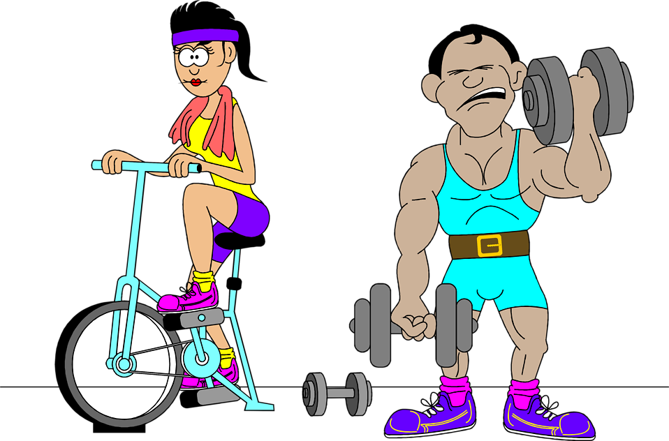 Illustration of a man and woman working out : Free Stock Photo
