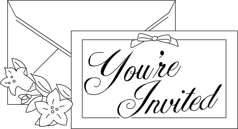 Illustration of an invitation with flowers : Free Stock Photo