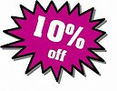 Free Stock Photo: Purple 10 percent off stickers
