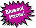 Free Stock Photo: Purple Blowout Prices sticker