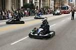 Free Stock Photo: Men in go-karts at the 2010 Atlanta Saint Patrick's Day Parade