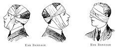 Free Stock Photo: Illustration of ear and eye bandages