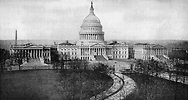 Free Stock Photo: A vintage photo of the United States Capitol building in Washington DC