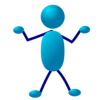 Free Stock Photo: Illustration of a dancing cartoon blue man