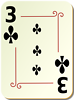 Free Stock Photo: Illustration of a Three of Clubs playing card