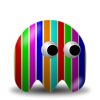 Free Stock Photo: Illustration of an arcade styled rainbow striped ghost