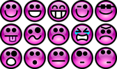 Free Stock Photo: Collection of purple smiley faces