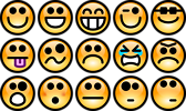 Free Stock Photo: Collection of orange smiley faces
