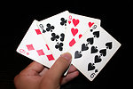Free Stock Photo: A hand holding the four nines in a standard deck of cards
