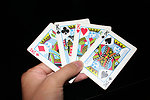 Free Stock Photo: A hand holding the four Kings in a standard deck of cards