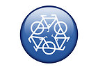Free Stock Photo: A blue recycling symbol of bicycles on a white background