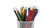 Free Stock Photo: Colored pencils in a pencil holder isolated on a white background