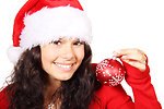 Free Stock Photo: A beautiful young woman with a Christmas hat and an ornament