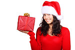 Free Stock Photo: A beautiful young woman with a Christmas present