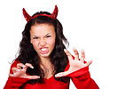 Free Stock Photo: A beautiful girl in a red devil costume isolated on a white background