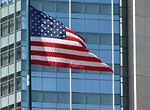 Free Stock Photo: US flag in front of modern building