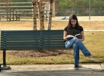 Free Stock Photo: Teenage girl reading a book