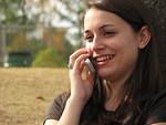 Free Stock Photo: Teenage girl talking on a cell phone