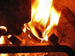 Free Stock Photo: Closeup of a fire in a fireplace