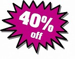 Free Stock Photo: Purple 40 percent off stickers