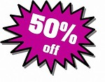 Free Stock Photo: Purple 50 percent off stickers