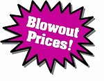 Free Stock Photo: Purple Blowout Prices sticker
