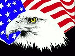 Free Stock Photo: Eagle and American flag illustration
