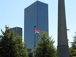 Free Stock Photo: British flag in front of some buildings