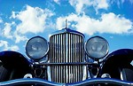 Free Stock Photo: Closeup of a blue antique car