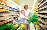 Free Stock Photo: Woman and child grocery shopping