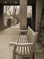 Free Stock Photo: Sepia tone wooden park bench