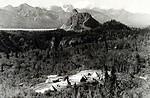 Free Stock Photo: Tented site near mountain range