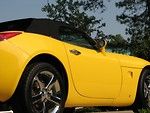Free Stock Photo: Closeup side view of a yellow sports car