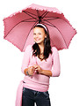Free Stock Photo: A beautiful girl with a pink umbrella