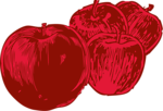 Free Stock Photo: Illustration of four red apples