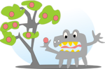 Free Stock Photo: Illustration of an apple tree with a monster