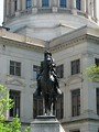 Free Stock Photo: Statue of a man on a horse at the Georgia State Capitol building in Atlanta, Georgia