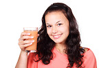 Free Stock Photo: A beautiful woman holding a glass of juice